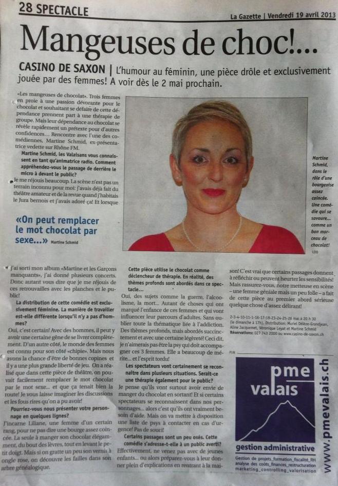 Les Mangeuses de chocolat - La Gazette 19.04.2013